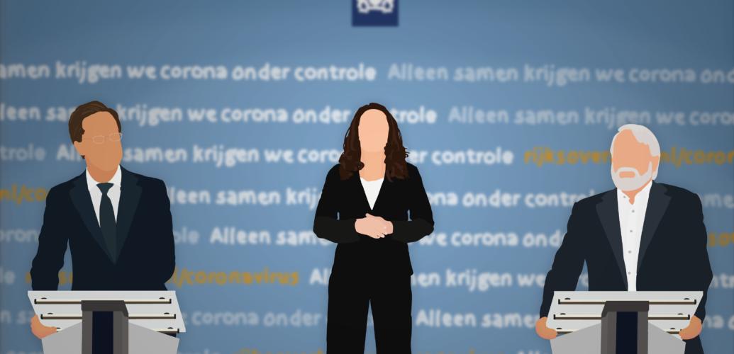 Premier Mark Rutte, gebarentolk Irma Sluis, en directeur Jaap van Dissel tijdens een persconferentie.